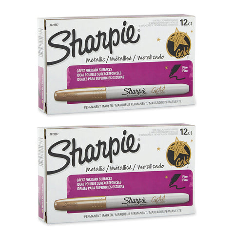 Sharpie Metallic Permanent Markers, Fine Point, Metallic Gold, Pack of 24