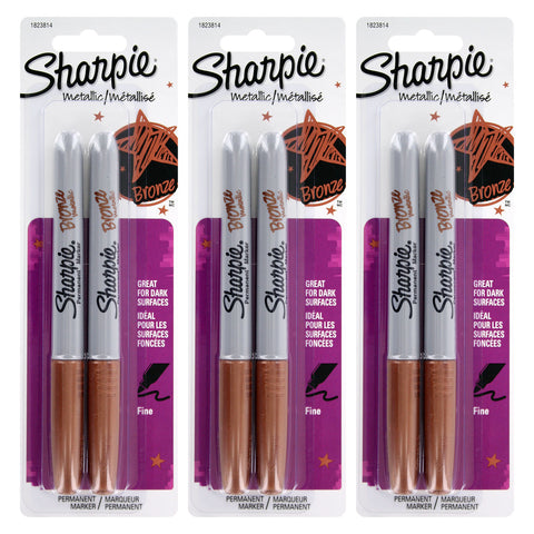 Sharpie Metallic Permanent Marker, Fine Point, Metallic Bronze, 6-Count