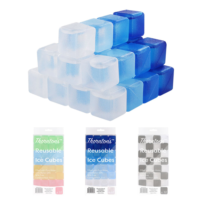 Thornton's Reusable Plastic Ice Cubes, Icy Blues, Set of 32