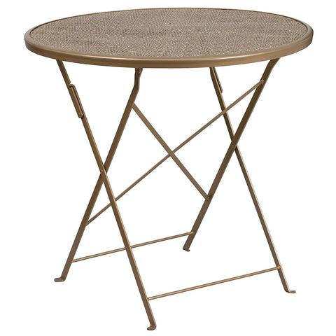Flash Furniture 30'' Round Gold Indoor-Outdoor Steel Folding Patio Table