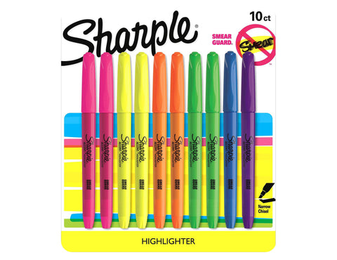 Sharpie Pocket Style Highlighter, Chisel Tip, Assorted Colors, 10-Count