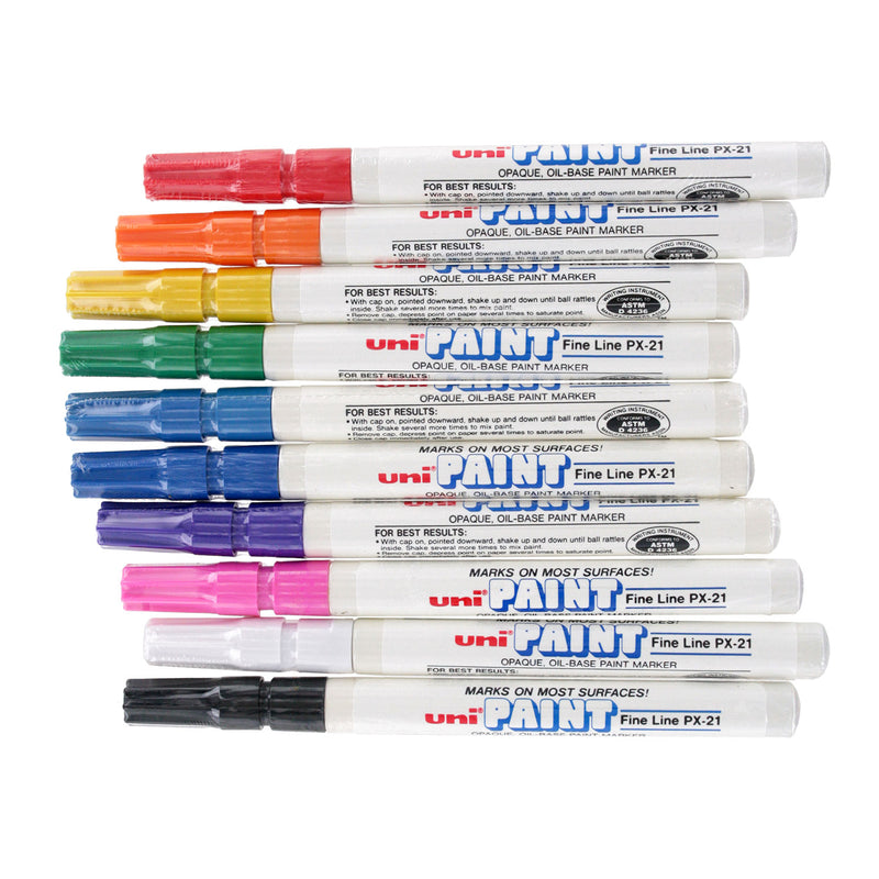 Uni-Paint PX-21 Oil-Based Paint Marker, Fine Point, Assorted Colors, 10-Count