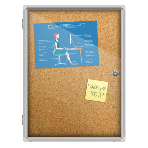 Thorntonu0027s Office Supplies Aluminum Frame Wall Mount Enclosed Cork Bulletin  Board, ...