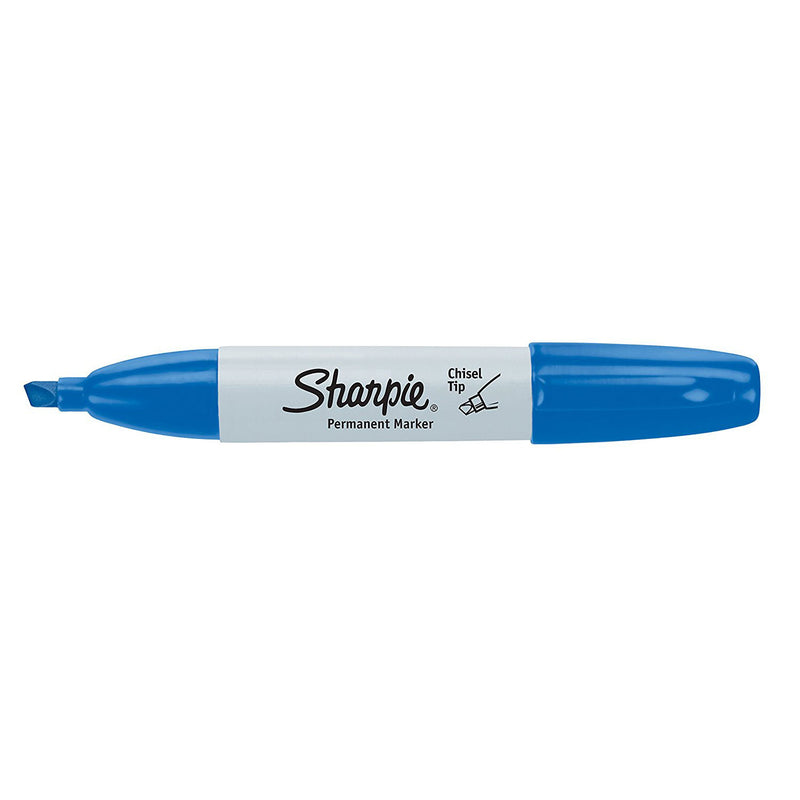 Sharpie Permanent Marker, Chisel Tip, Blue, 36-Count