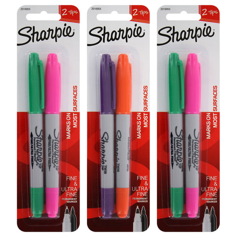Sharpie Twin-Tip Permanent Marker Fine/Ultra Fine Point Assorted Colors 6-Count