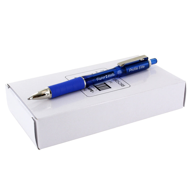 Paper Mate Profile Elite Retractable Ball Point Pen, 1.4mm, Bold Point, Blue Ink, Pack of 12