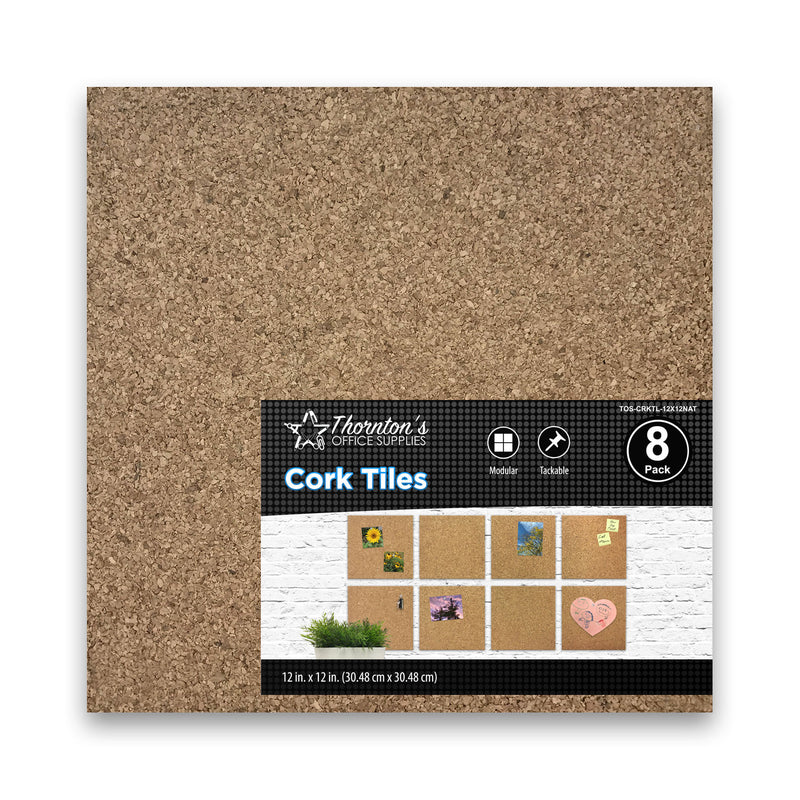 Thornton's Office Supplies Cork Tiles, Natural, 12 Inch x 12 Inch, Frameless, 24 Pack