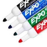 Expo Low Odor Dry Erase Markers, Bullet Tip, Assorted Colors, 4-Count