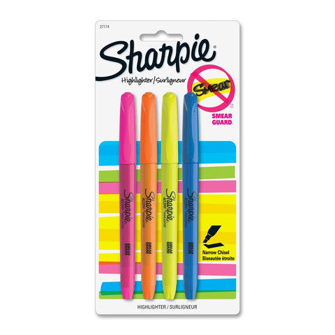 Sharpie Accent Pocket-Style Highlighters, Narrow Chisel Tip, Assorted, Pack of 4