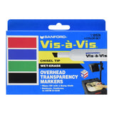 Sanford Vis-A-Vis Wet-Erase Markers, Chisel Tip, Assorted Colors, Pack of 144