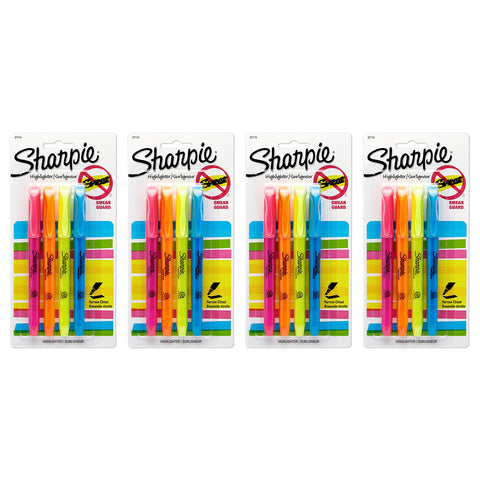 Sharpie Pocket Style Highlighters, Chisel Tip, Assorted Fluorescent, 16-Count
