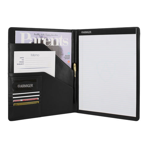 Armiger Executive Bonded Leather Professional Padfolio with Letter Size Notepad - Black