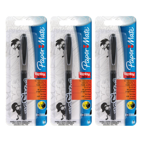 Paper Mate Replay Max Erasable Ball Point Pen, 1.0mm, Medium Point, Black Ink, 3-Count
