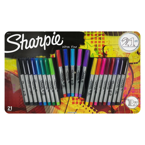 Sharpie Permanent Markers, Ultra Fine Point, Assorted Colors, Set of 21