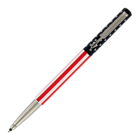 Parker Vector Roller Ball Pen, American Flag with Chrome Trim with Medium Point Black Refill