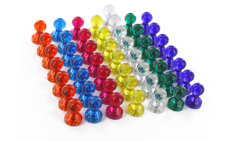 Thornton's Office Supplies Magna Pins Magnetic Push Pins, Assorted Colors, 50-Count