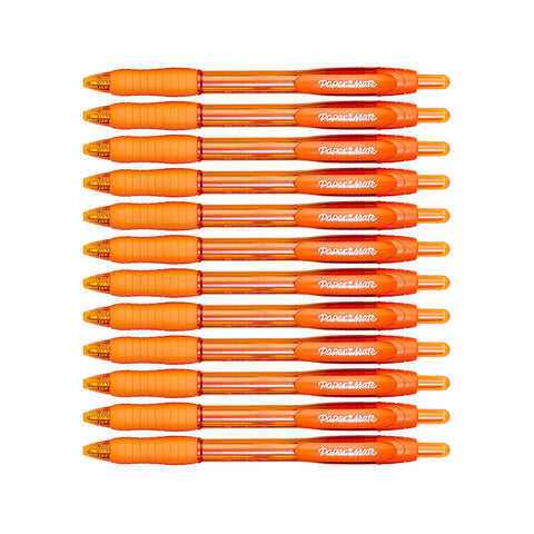 Paper Mate Profile Retractable Ball Point Pens, 1.4mm, Bold Point, Orange Ink, 12-Count