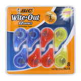 "BIC Wite-Out EZ Correct Correction Tape, Non-Refillable, 1/6"" x 39 Ft, 8-Count"
