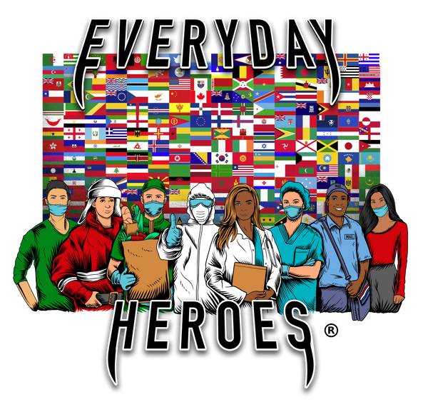 Everyday Heroes Fundraiser Men White Vneck Tshirt