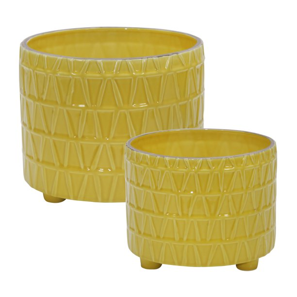 "CERAMIC FOOTED ETCHED PLANTER - 10"" - YELLOW"