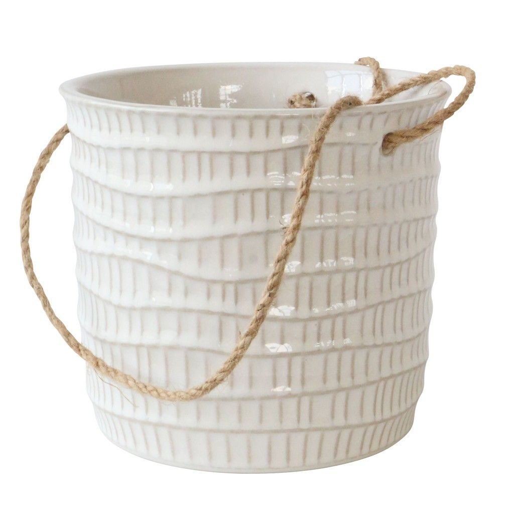 "WAVY LINES HANGING PLANTER - 7"" - WHITE"