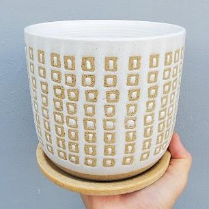 SQUARE PRINT PLANTER WITH ATTACHED SAUCER - 6