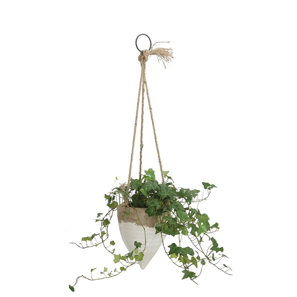 "STONEWARE HANGING PLANTER WITH JUTE ROPE - 6.5"" X 8"" - WHITE"