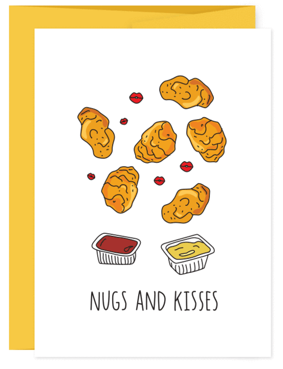 HUMDRUM CARDS - CHICKEN NUGS AND KISSES