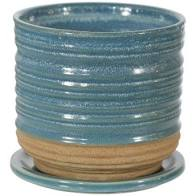 "TEXTURED PLANTER WITH ATTACHED SAUCER - 6"" - AQUA"