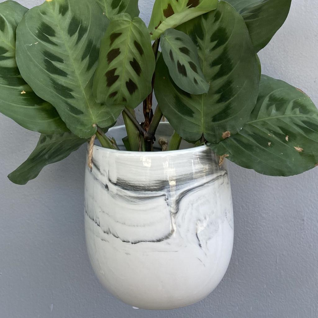 "HANGING MARBLE PLANTER - 6.5"" - GRAY"