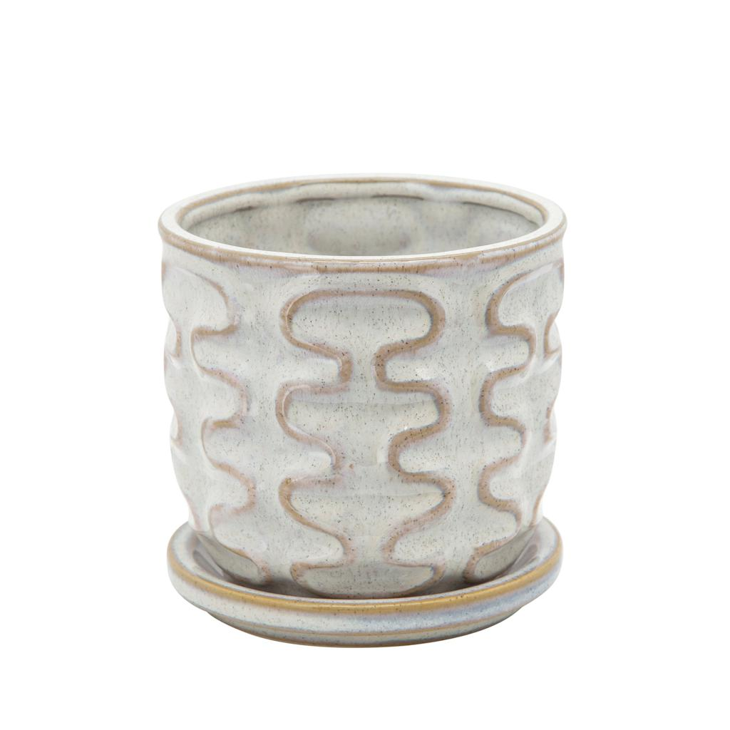 "PLANTER WITH ATTACHED SAUCER - 5"" - BEIGE - WIGGLY"