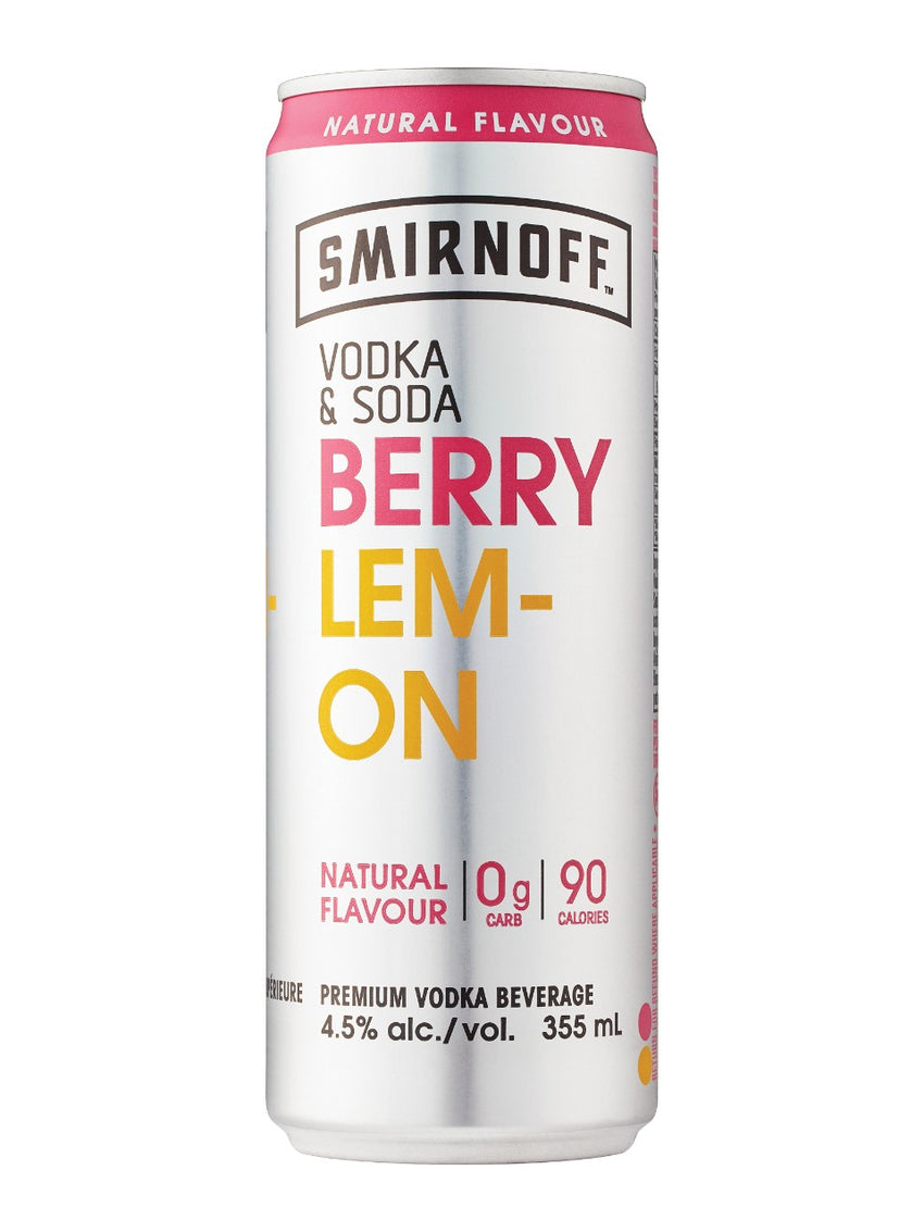 Smirnoff Vodka & Soda Berry Lemon (4 PK)