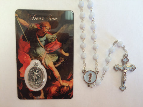 Blue Rosary with St. Michael Prayer Card