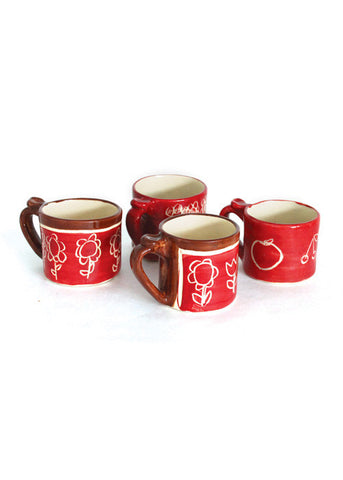 Set 4 hand decorated mugs