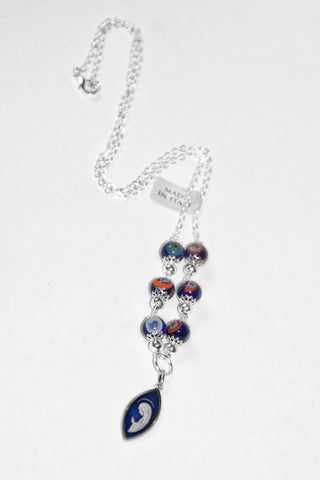 Murano Glass Necklace with Blue Pendant