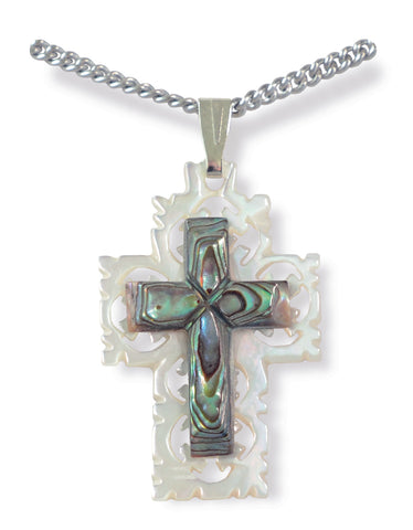 Green Mother of Pearl Cross with Chain