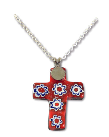 Chain with Red Murano Cross