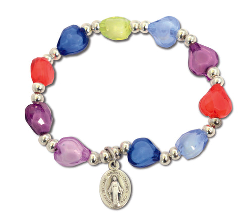 Bracelet with Multi-coloured Hearts