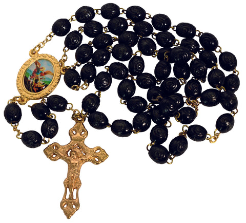 Black Rosary with St.Michael Medal