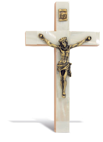 Mother of Pearl Wood Crucifix (5­'')