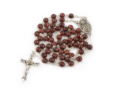 Bohemian Glass Rosary with the Scapular Medal