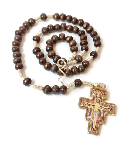 Saint Damian Wood Rosary