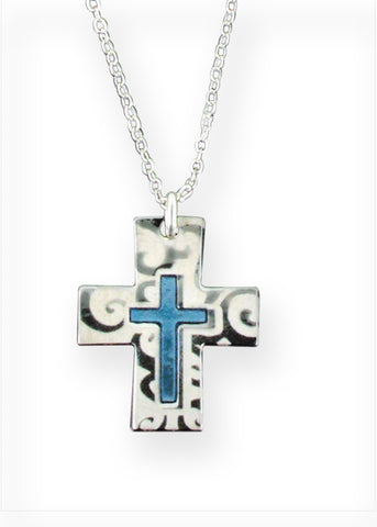 Chain with silver and blue cross // CT19
