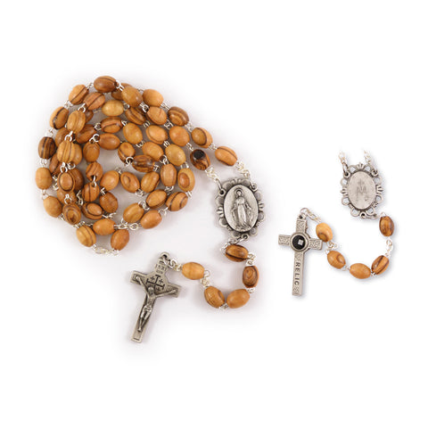 OLIVE WOOD ROSARY WITH RELIC