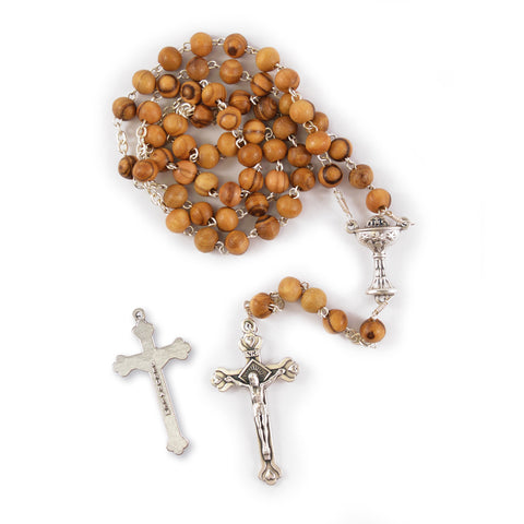 1ST COMMUNION OLIVE WOOD ROSARY