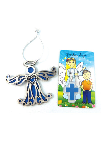 Blue Angel Ornament with Prayer Card