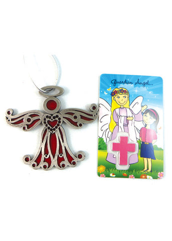 Red Angel Ornament with Prayer Card
