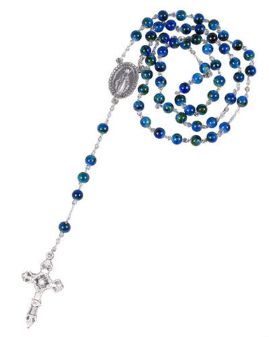 Marble Blue Glass Rosary