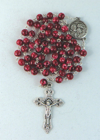 Glass Rosary Holy Family Medal