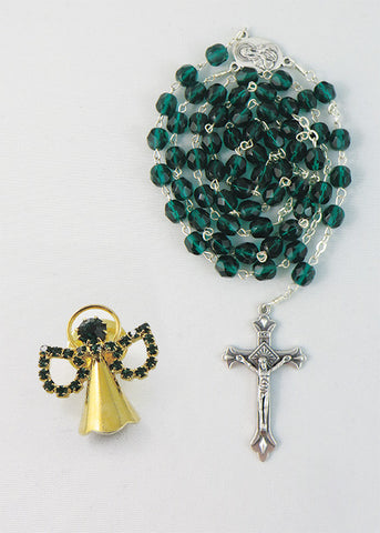 Emerald Rosary Jerusalem with angel